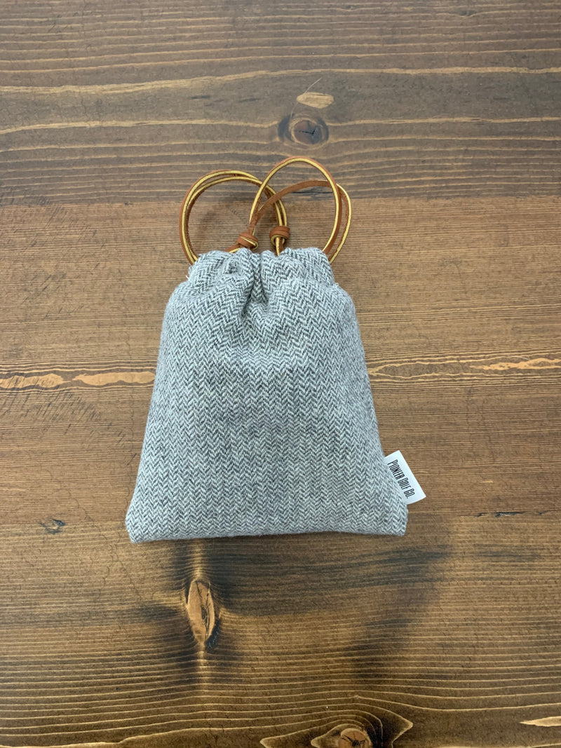 Grey & Natural Herringbone Valuable Pouch