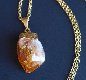 Gold + Raw Citrine Crystal Statement Necklace