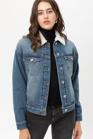 Denim Faux Fur Coat