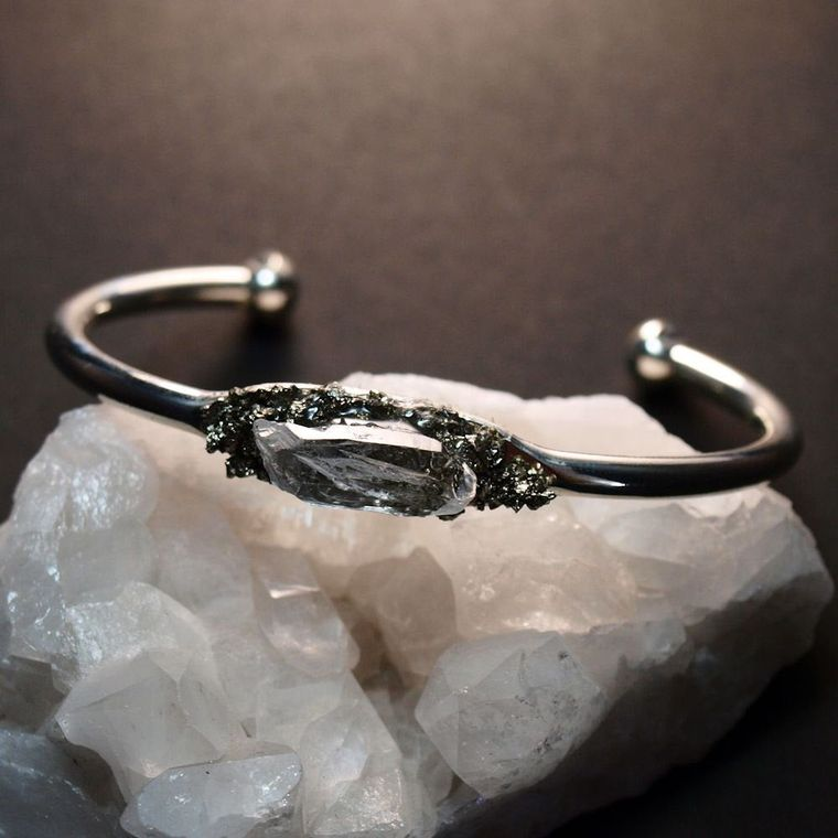 Pyrite & Quartz Silver Bangle