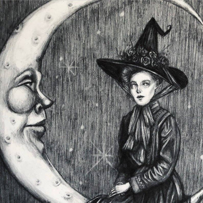 Moon Magick Witch Art