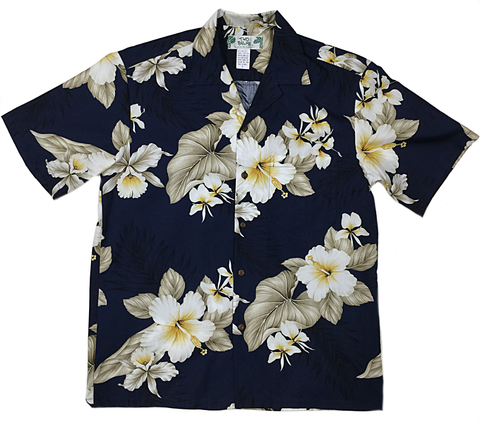Men's Hibiscus Navy Shirt