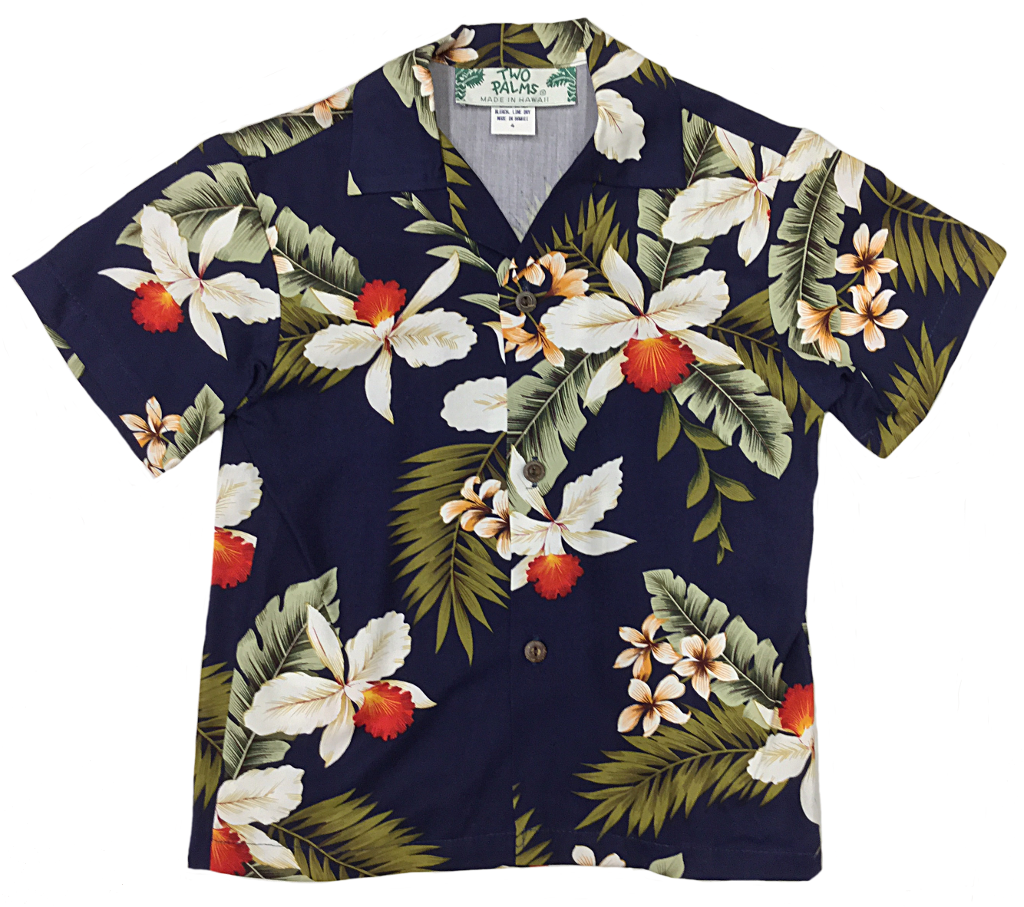 Boys' Hawaiian Orchid Navy Shirt