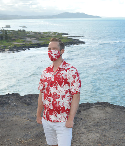 Men's Monstera Orchid Shirt & Face Mask