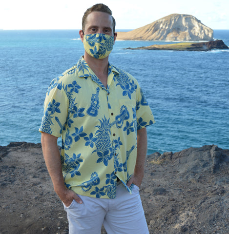 Men's Pineapple & Ukulele Shirt & Face Mask