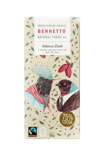 Bennetto Intense Dark 75% Cocoa Chocolate 100g
