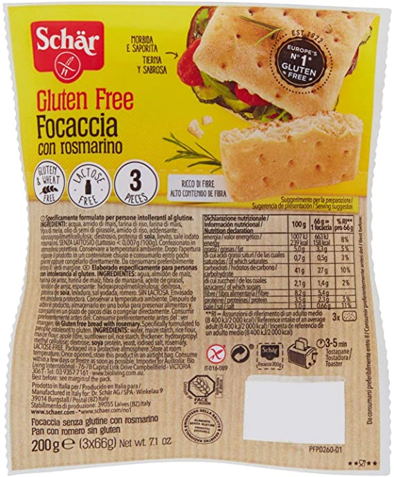 Schar Foacaccia with Rosemary 3pc 200g