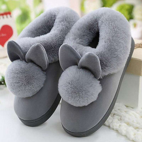 chausson lapin gris