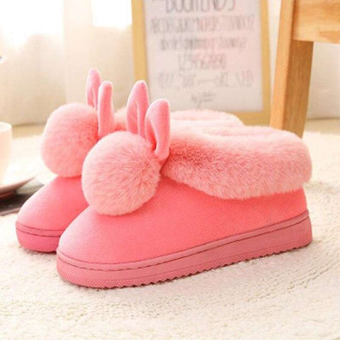 chausson lapin rose