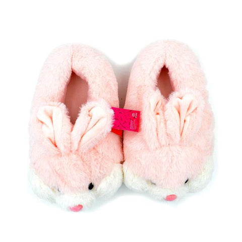 chausson peluche lapin rose