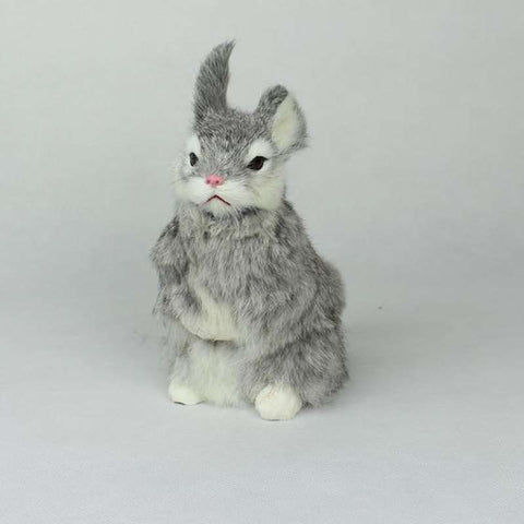 peluche lapin assis gris