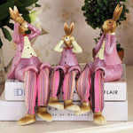 sculpture grand lapin assis rose