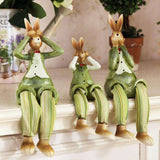 sculpture grand lapin assis vert