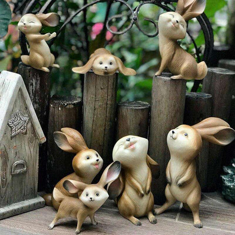 statue lapin 7 pieces