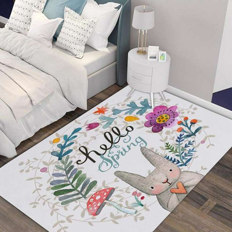tapis lapin rectangle hello spring