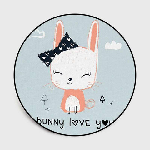 tapis lapin rond bunny love you