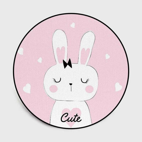 tapis lapin rond cute