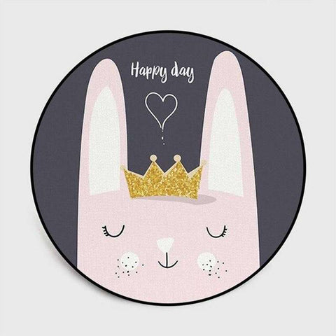 tapis lapin rond happy day