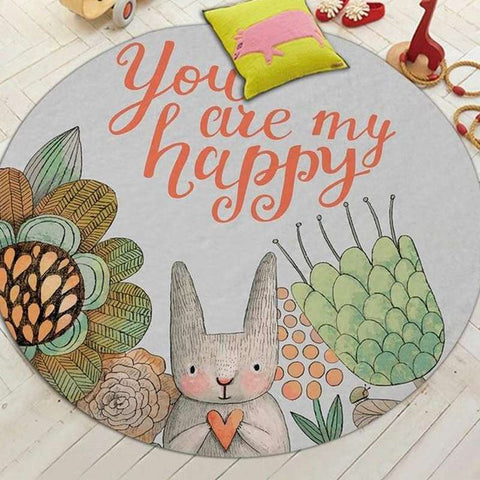 tapis lapin rond you are my happy