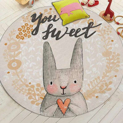 tapis lapin rond you are sweet