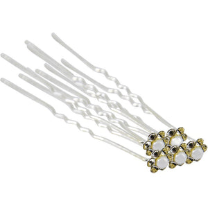 Crystal & Pearl Hairpins Sm