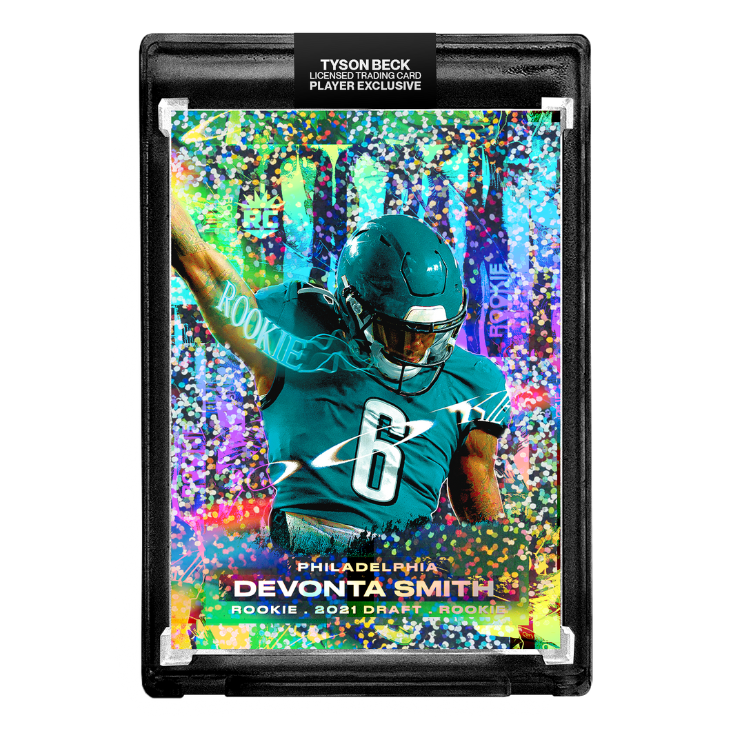 🦅  DEVONTA SMITH X TYSON BECK - RC - DRAFTED - PHILADELPHIA - CONFETTI REFRACTOR - LIMITED TO 99