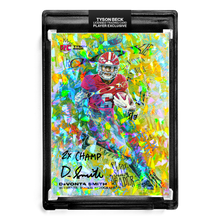 "Load image into Gallery viewer, ❄️ 💀 DEVONTA SMITH X TYSON BECK - SLIM REAPER - CRACKED ICE REFRACTOR - RC AUTOGRAPH - ""2X CHAMP"" INSCRIPTION - LIMITED TO 6"