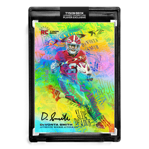🌈 💀 DEVONTA SMITH X TYSON BECK - SLIM REAPER - RAINBOW FOIL - RC AUTOGRAPH - LIMITED TO 25