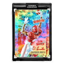 "Load image into Gallery viewer, 🌈 🏈 DEVONTA SMITH X TYSON BECK - THE CATCH - RAINBOW FOIL - RC AUTOGRAPH - ""SLIM REAPER"" INSCRIPTION - LIMITED TO 6"