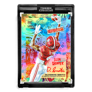 "🌈 🏈 DEVONTA SMITH X TYSON BECK - THE CATCH - RAINBOW FOIL - RC AUTOGRAPH - ""SLIM REAPER"" INSCRIPTION - LIMITED TO 6"