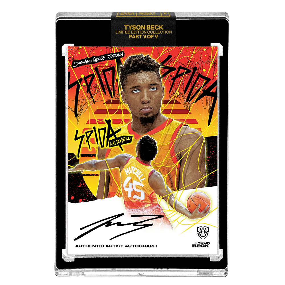 PART V OF V - OFFICIAL DONOVAN MITCHELL X TYSON BECK SUNSET BASE – ARTIST BLACK AUTOGRAPHED CARD - LIMITED TO 25
