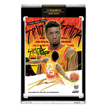 Load image into Gallery viewer, PART V OF V - OFFICIAL DONOVAN MITCHELL X TYSON BECK SUNSET BASE – ARTIST GOLD AUTOGRAPHED CARD - LIMITED TO 1
