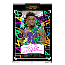 Load image into Gallery viewer, PART V OF V - OFFICIAL DONOVAN MITCHELL - RETRO HAND EMBELLISHED NEON UV - AUTOGRAPHED CARD - LIMITED TO 15