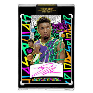 PART V OF V - OFFICIAL DONOVAN MITCHELL - RETRO HAND EMBELLISHED NEON UV - AUTOGRAPHED CARD - LIMITED TO 15