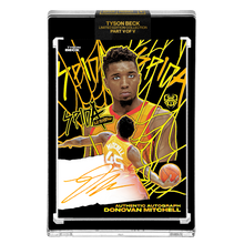 Load image into Gallery viewer, PART V OF V - OFFICIAL DONOVAN MITCHELL - SUNSET HAND EMBELLISHED NEON UV - AUTOGRAPHED CARD - LIMITED TO 15