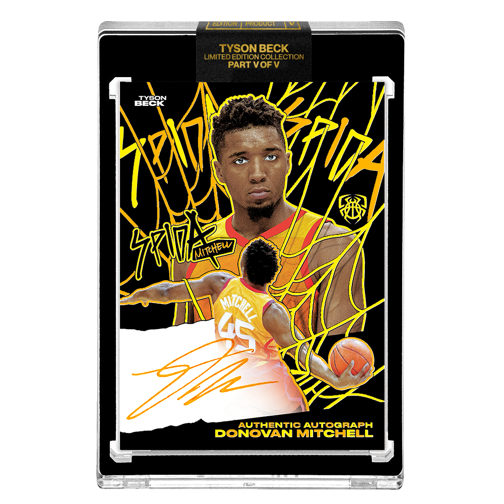PART V OF V - OFFICIAL DONOVAN MITCHELL - SUNSET HAND EMBELLISHED NEON UV - AUTOGRAPHED CARD - LIMITED TO 15