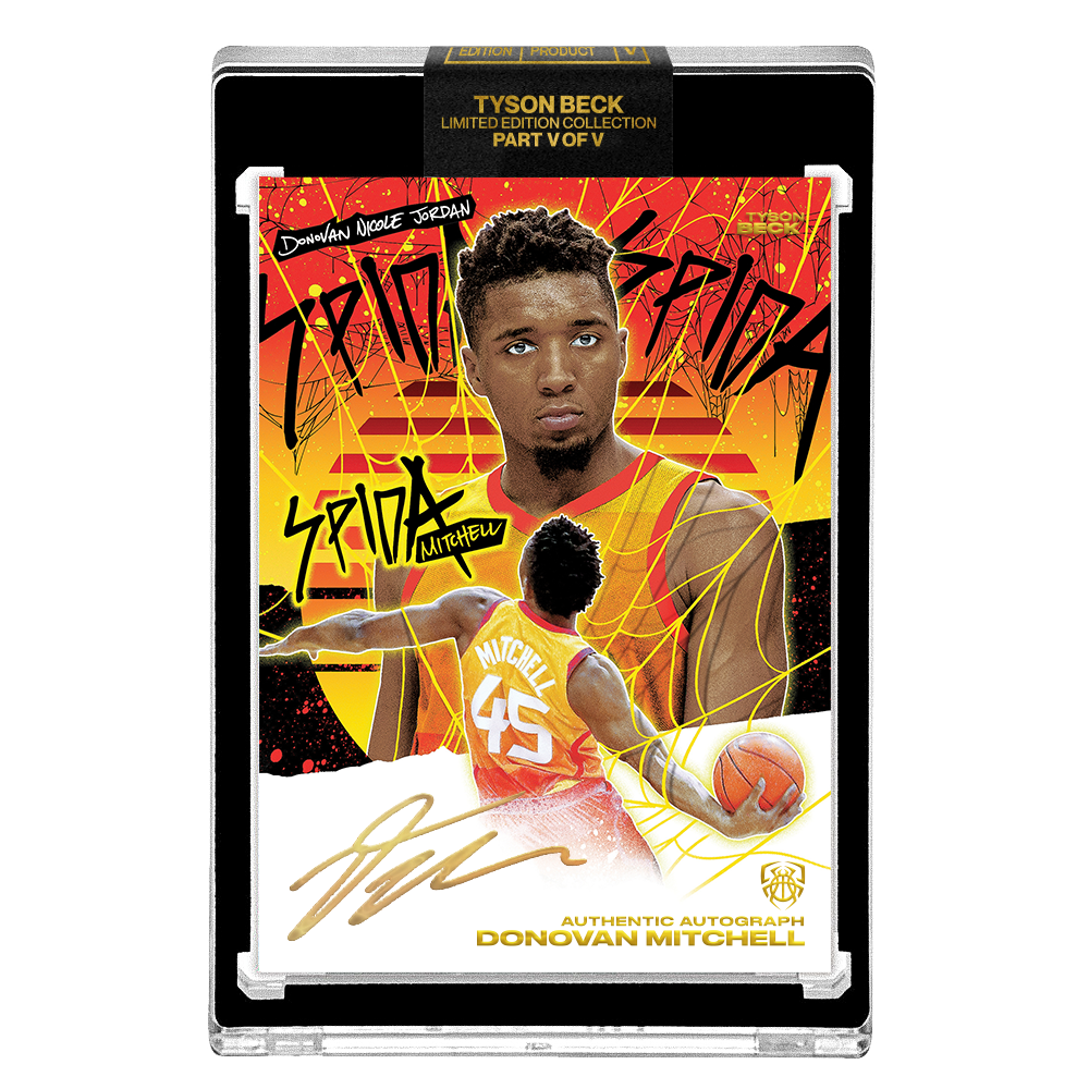 PART V OF V - OFFICIAL DONOVAN MITCHELL SUNSET BASE – GOLD AUTOGRAPHED CARD - LIMITED TO 5