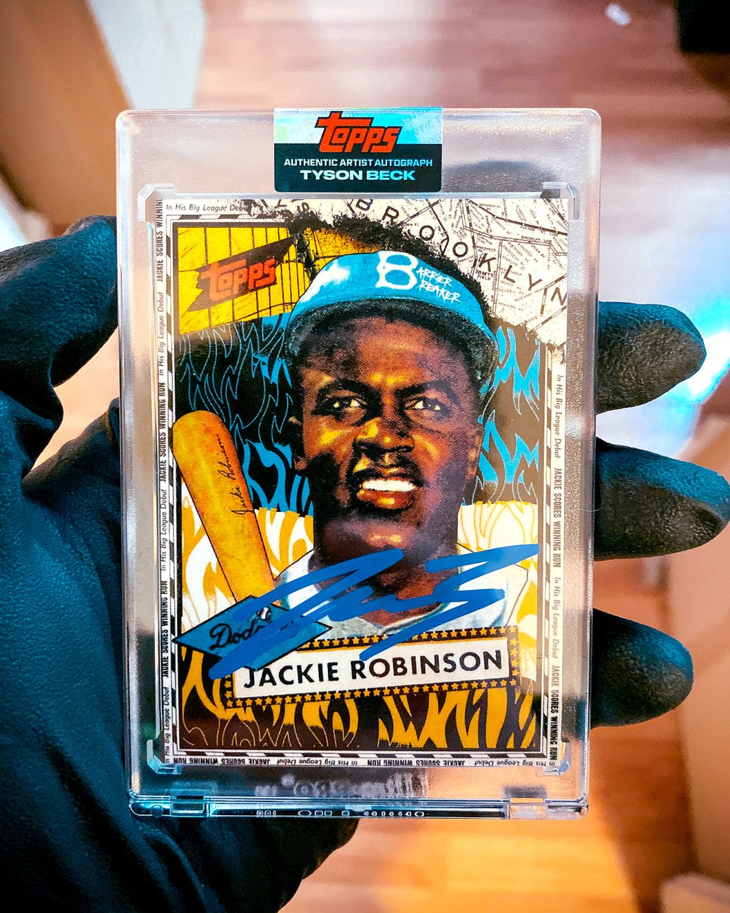 Jackie Robinson by Tyson Beck - DODGER BLUE AUTOGRAPH - LIMITED TO 42