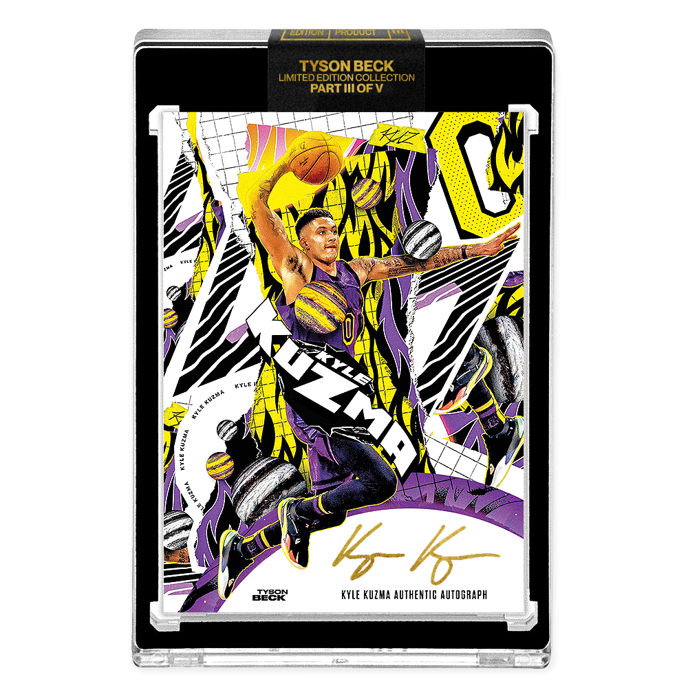PART III OF V - OFFICIAL KYLE KUZMA X TYSON BECK - GOLD AUTOGRAPHED CARD - LIMITED TO 1