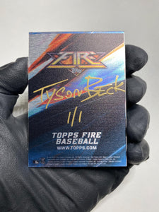 Noah Syndergaard - 1/1 TYSON BECK X TOPPS AUTOGRAPHED 2015 FIRE METAL CARD 🔥