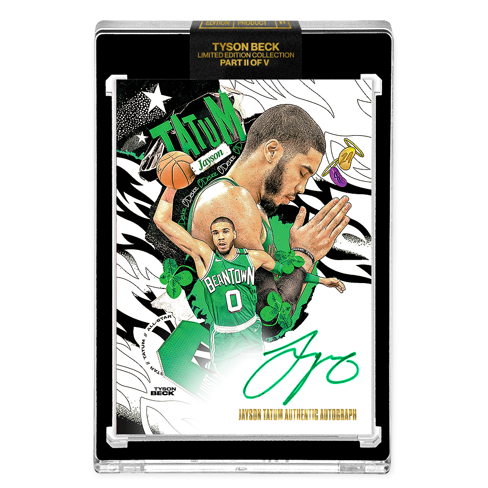 PART II OF V - OFFICIAL JAYSON TATUM - GREEN AUTOGRAPHED CARD - LIMITED TO 25