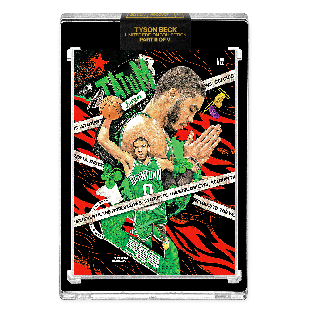 PART II OF V - OFFICIAL JAYSON TATUM X TYSON BECK CARD - METALLIC RED AP VARIATION // ST. LOUIS - LIMITED TO 22