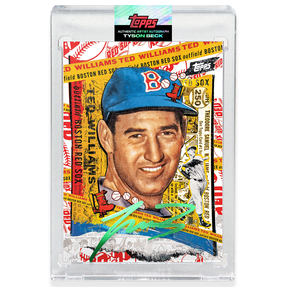 Ted Williams by Tyson Beck - EMERALD AUTOGRAPH - LIMITED TO 25 + Topps Collector Card