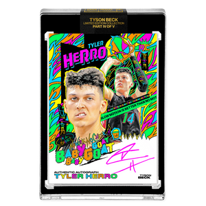 PART IV OF V - OFFICIAL TYLER HERRO RC HAND EMBELLISHED NEON UV - PINK AUTOGRAPHED CARD - LIMITED TO 14