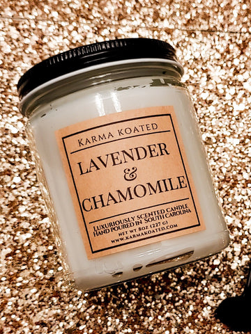 Lavender & Chamomile Single-Wick Candle 8oz Candle Karma Koated