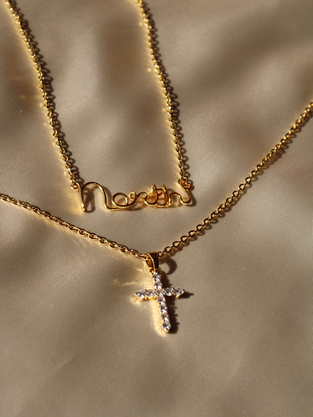 CUSTOM NAME + CRYSTAL CROSS NECKLACE SET