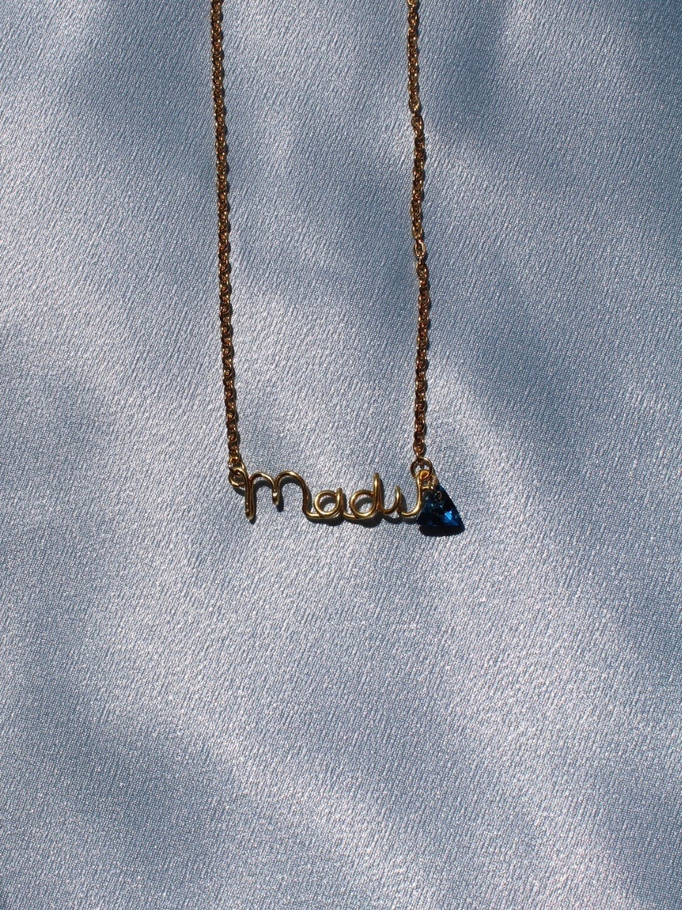 Custom name necklace with Brasileira Swarovski crystal