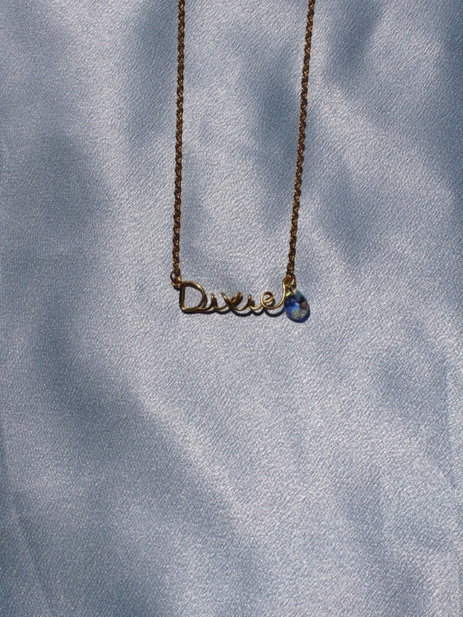 Custom name necklace with raindrop Swarovski crystal