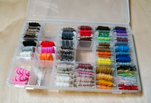 Fly tying yarn storage box