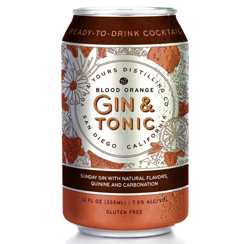 You & Yours Distilling Blood Orange Gin & Tonic Canned Cocktails You & Yours Distilling Co
